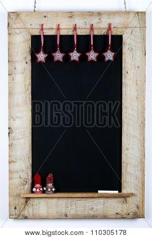 Chalkboard Blackboard Wood Frame Fabric Stars Small Children Nordic Puppets Decoration