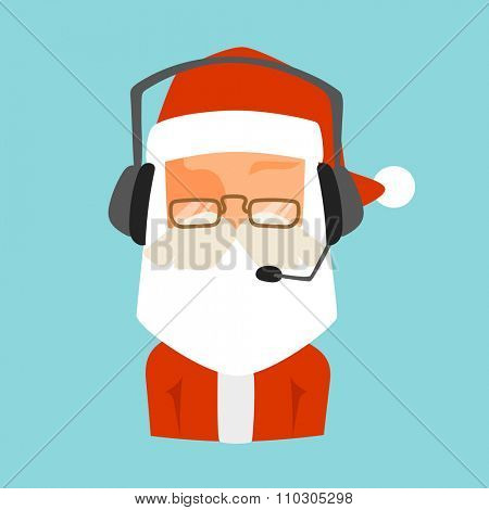 Christmas Santa shop support vector face avatar. Shop store gift delivery support cartoon Santa man face avatar. Christmas support icon. New Year website support icon. Shop store web avatar icon