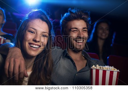 Happy Couple In The Movie Theater