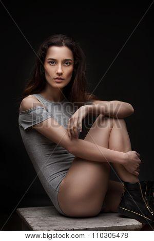 sexy women posing on dark background