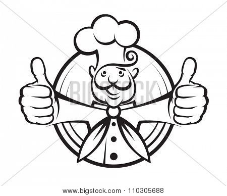 monochrome illustration of a chef