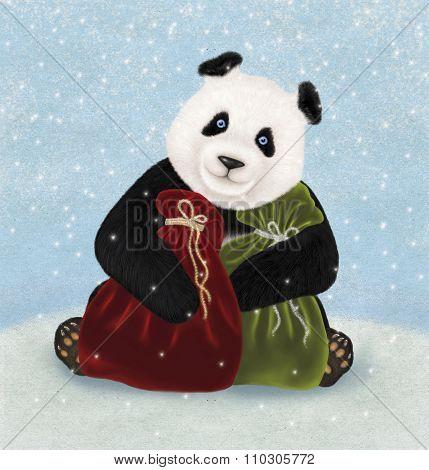 Christmas card with Panda bear