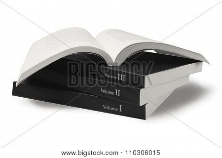 Collection of Black Cover Books on White Background