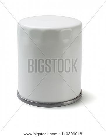 White Auto Oil Filter on White Background