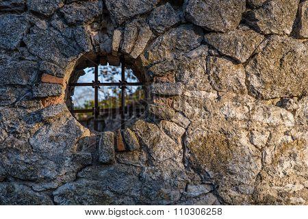 Window in a fence.