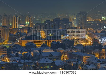 Winter Nightfall Cityscape