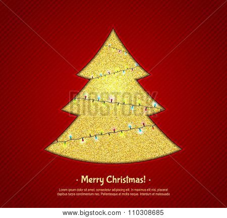 Golden Christmas tree and fairy lights, design greeting card
