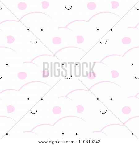 Baby vector seamless pattern. Light fun sky print for textil.