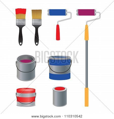 Brush And Roller For Paint, Banks With Paint.