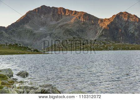 Amazing Sunrise over Tevno Lake and Kamenitsa peak
