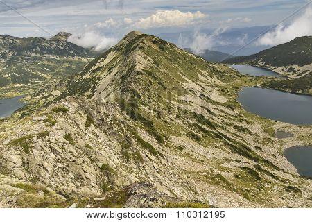 Amazibg Panorama of Kremenski lakes and popovo lake from Dzhano peak
