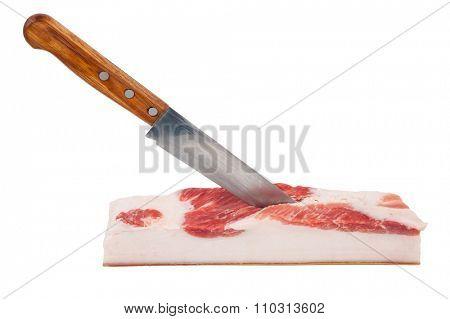Piece of lard with knife