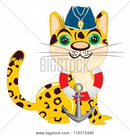 Cartoon of the leopard of the sailor
