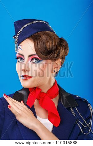 Stewardess Posing With Face Art.