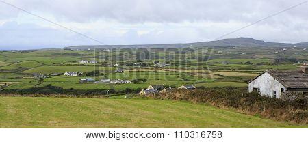Scenic view of Rural farmhouses among farmland.