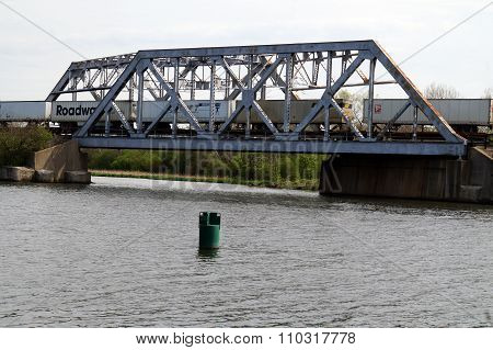 Train Crosses Bridge