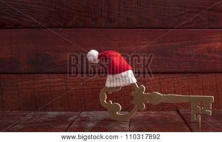 Santa's key on old wooden table