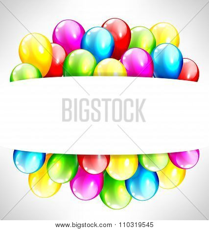 Multicolored inflatable balloons with frame on grayscale