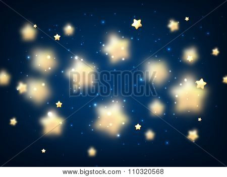 Blue luminous background with stars. Vector illustration.