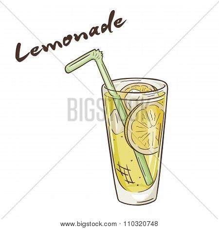 Vector Printable Illustration Of Isolated Cup Of Lemonade With Label