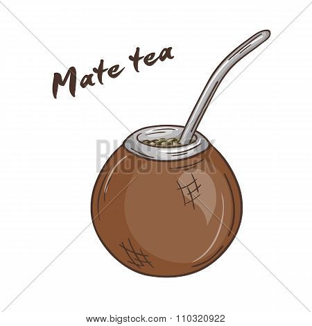 Vector Printable Illustration Of Isolated Cup Of Mate Tea With Label