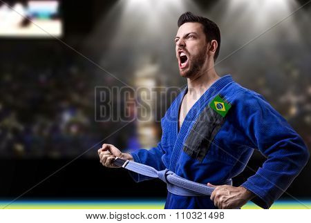 Brazilian judoka fighter in the stadium