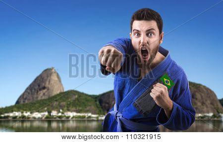 Brazilian judoka man in Rio de Janeiro, Brazil