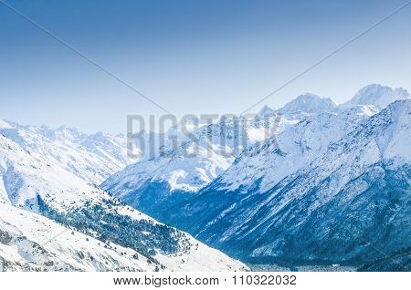 Beautiful Winter Landscape With Snow-covered Mountains
