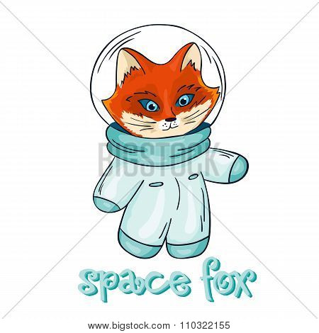 Vector Hand Drawn Isolated Printable Illustration Of Fox Astronaut With Label - Space Fox