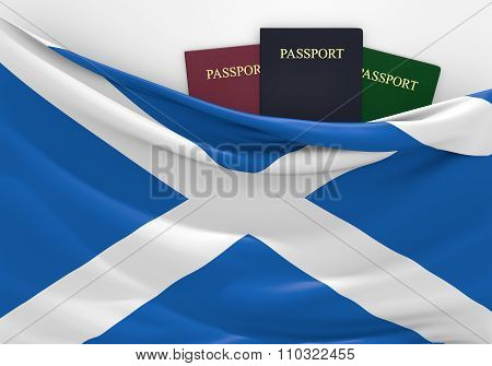 Travel and tourism in Scotland, with assorted passports