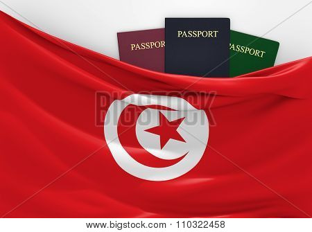 Travel and tourism in Tunisia, with assorted passports