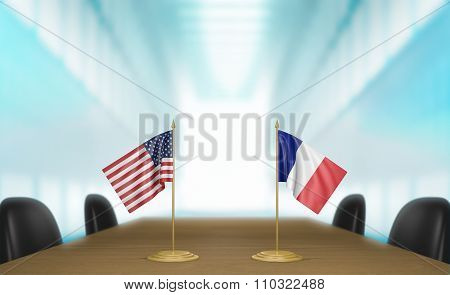 United States and France relations and trade deal talks 3D rendering