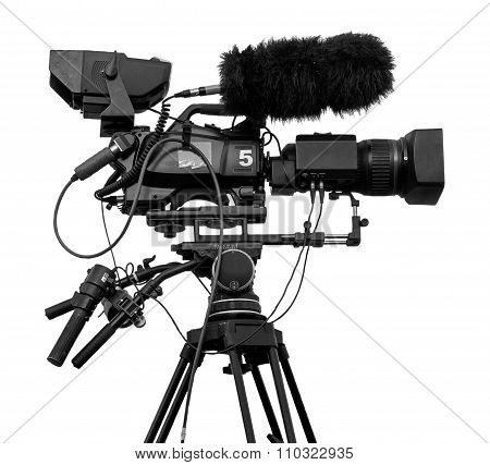 Professional Television Video Camera Isolated On White Black And White