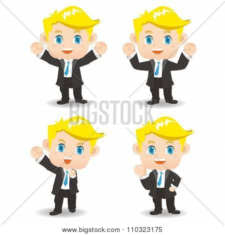 Cartoon Illustration Success Business Man