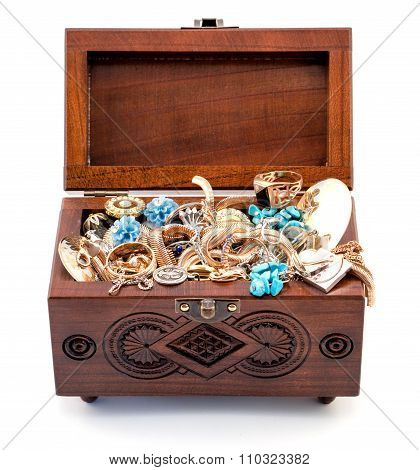 Opened Oak Wood Carved Casket Handmade With Jewelry Isolated On White