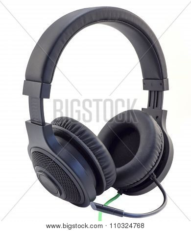 Matt Black Headphones With A Headset With A Green Wire Cuted Isolated On White