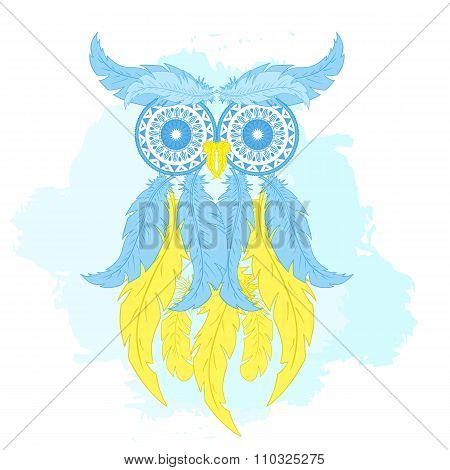 vector printable fashion illustration of cartoon owl from hand drawn feather and mandala on watercol