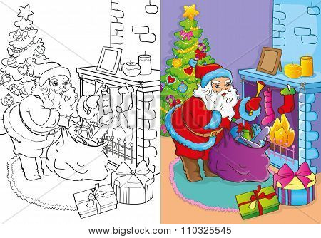 Coloring Book Of Santa Claus Gets Gifts