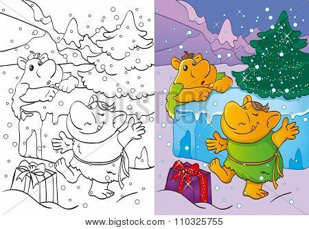 Coloring Book Of Trolls Got Christmas Gift