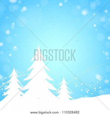 Light Blue Winter Background with Pine Trees, Lights and Snow