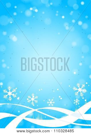 Blue Vertical Winter Background with Snowflakes, Lights and Waves