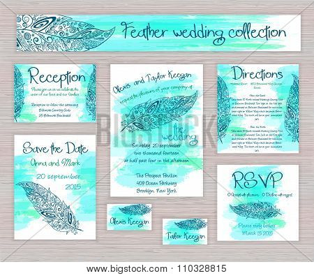 Vector Printable Wedding Typography Set Of Cards With Hand Drawn Zentangle Feather On Watercolor Bac