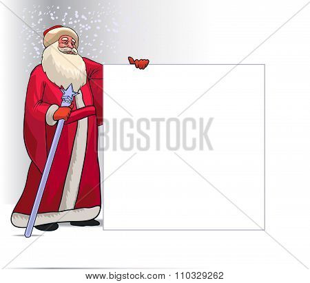 Santa Claus Cartoon Character for Christmas Holding Blank Board