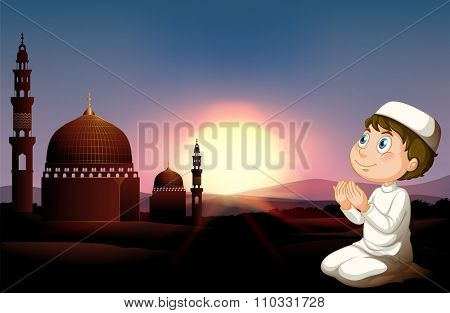 Muslim man praying at the mosque illustration