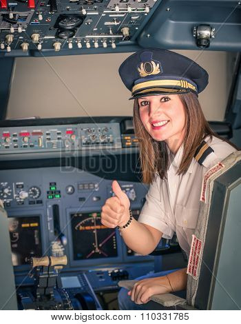 Female Pilot Ready For Take Off