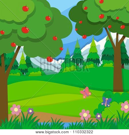 Apple trees in the orchard illustration