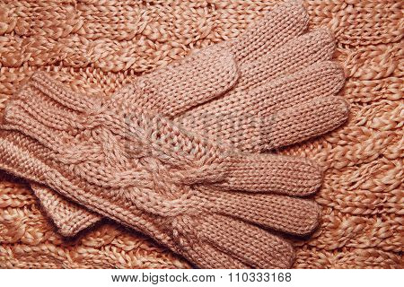 Wool Sweater Or Scarf And Gloves Texture Close Up.