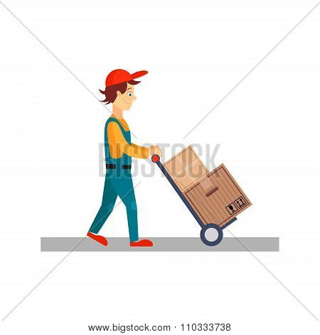Delivery Man with Cart and Carton Boxes, Vector Illustration