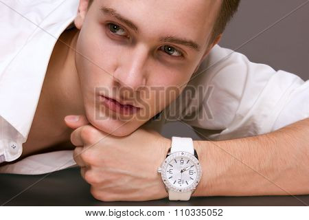 Young Male Model In Wristwatches