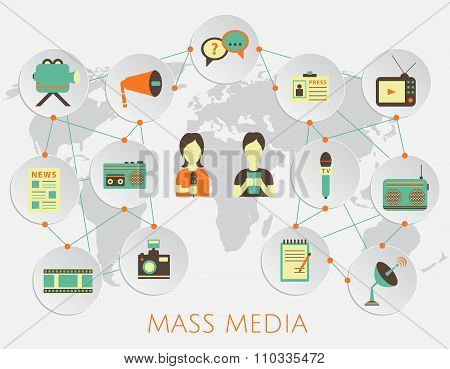 Mass media journalism news concept flat business icons of newspaper paparazzi profession live radio